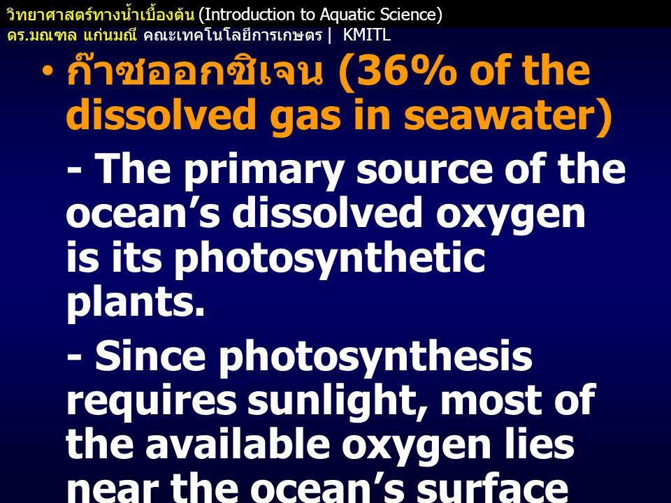 ก๊าซออกซิเจน (36% of the dissolved gas in seawater)