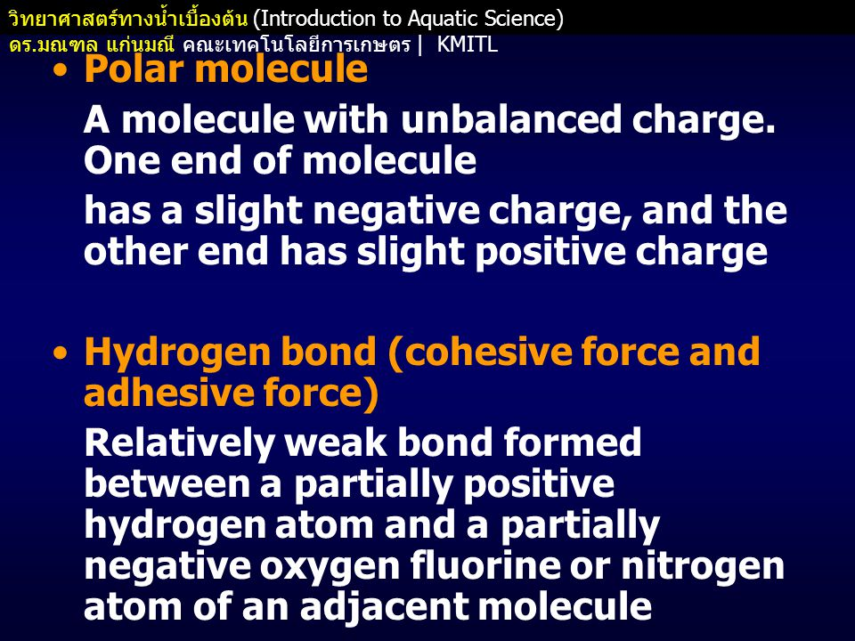 Polar molecule A molecule with unbalanced charge. One end of molecule. has a slight negative charge, and the other end has slight positive charge.