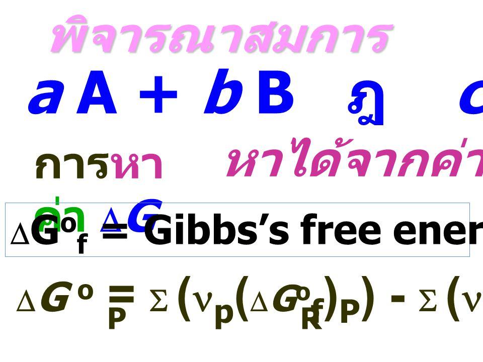 a A + b B ฎ c C + d D พิจารณาสมการ หาได้จากค่า DGof การหาค่า DG