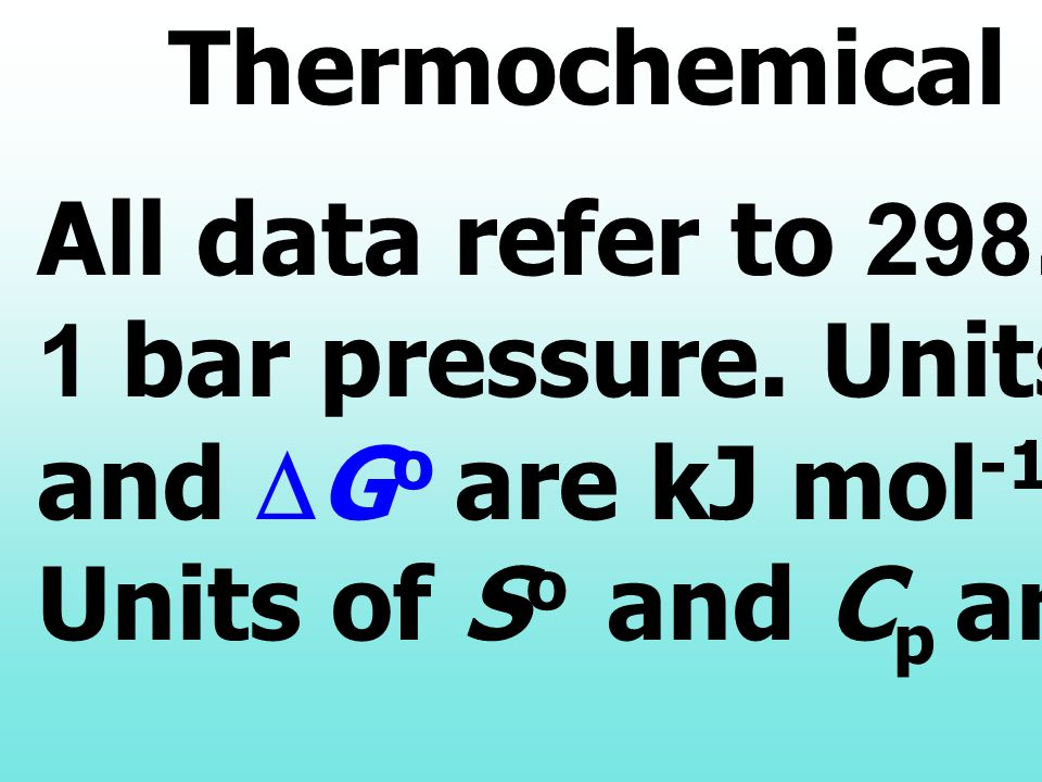 Thermochemical Data All data refer to K and. 1 bar pressure. Units of DHo. and DGo are kJ mol-1;