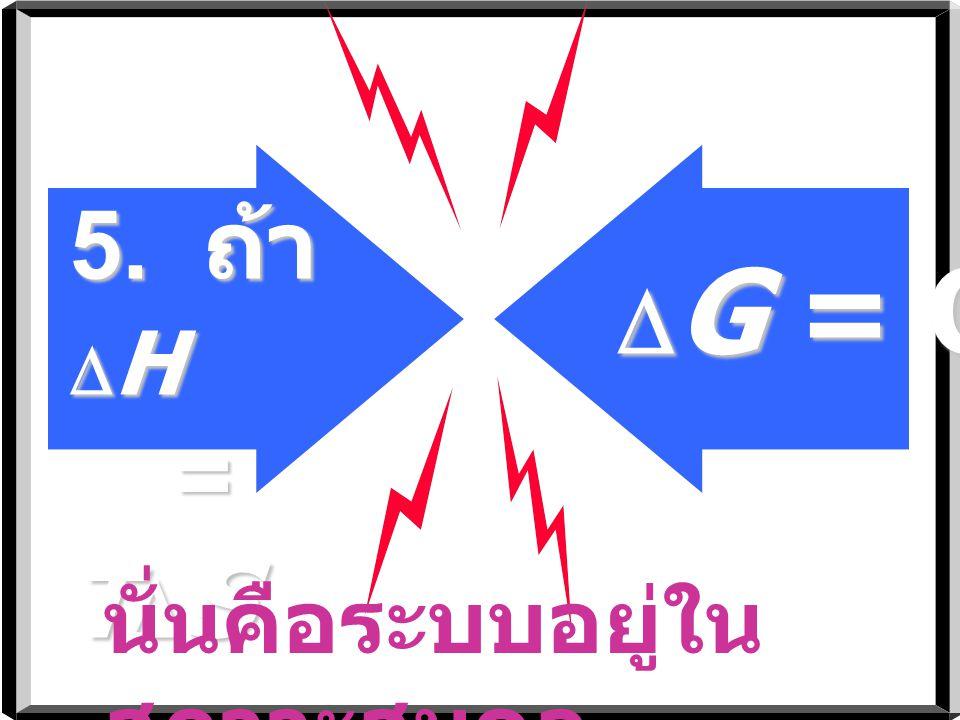 5. ถ้า DH = TDS DG = O นั่นคือระบบอยู่ในสภาวะสมดุล