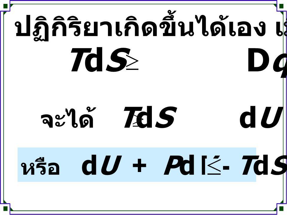 TdS Dqrev ปฏิกิริยาเกิดขึ้นได้เอง เมื่อ จะได้ TdS dU + PdV