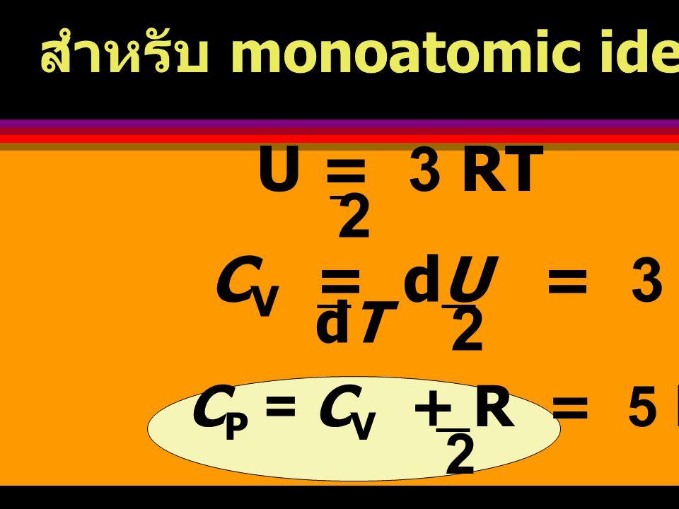 U = 3 RT 2 CV = dU = 3 R 2 สำหรับ monoatomic ideal gas ที่มี n = 1 dT