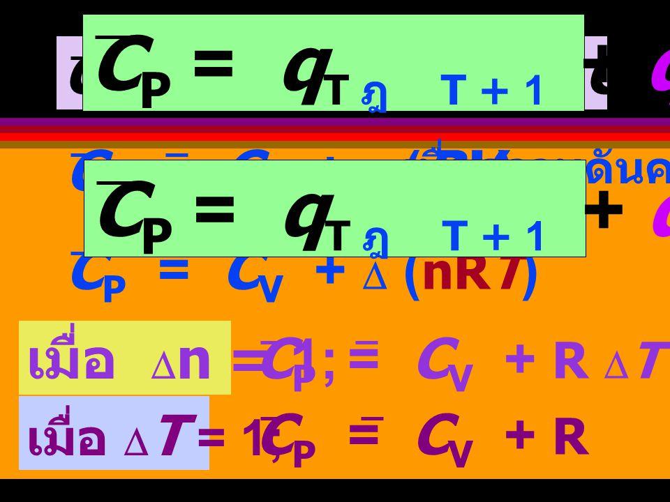 CP = qT ฎ T + 1 + qPV-work CP = qT ฎ T + 1 + qPV-work