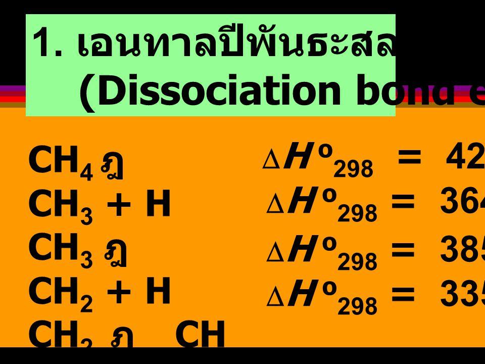 1. เอนทาลปีพันธะสลายตัว (Dissociation bond enthalply)