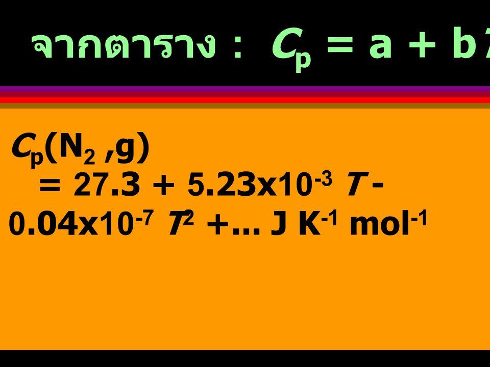 จากตาราง : Cp = a + bT + CT 2 + ...
