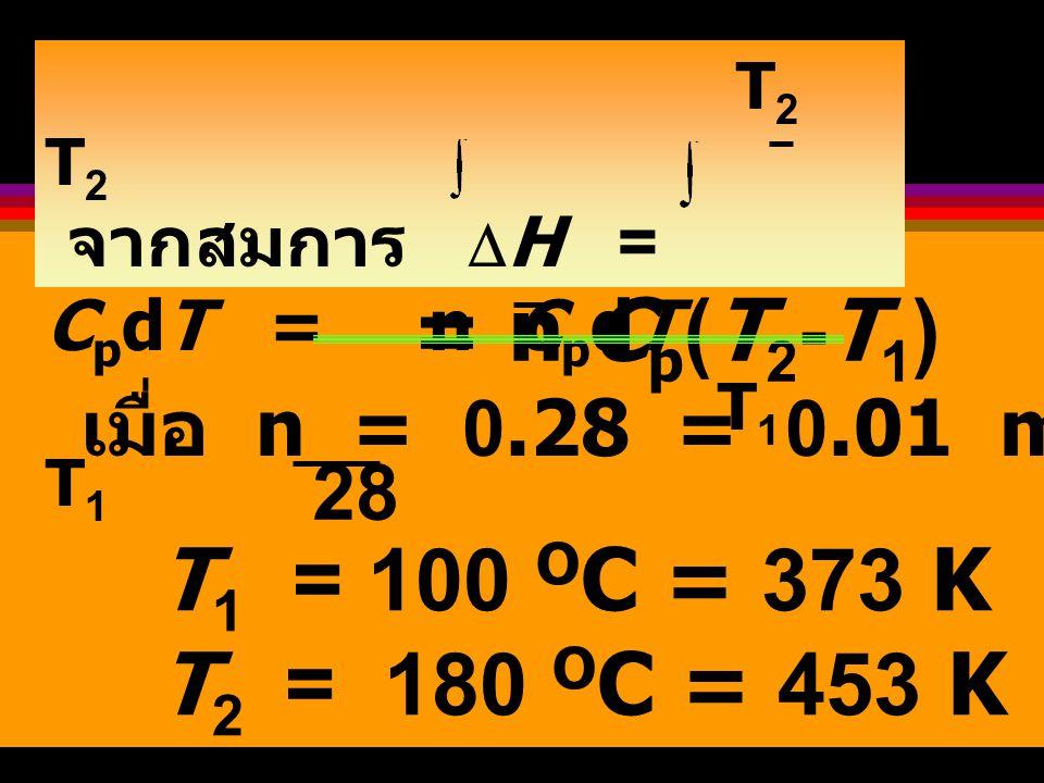 = n Cp(T2-T1) T1 = 100 OC = 373 K T2 = 180 OC = 453 K