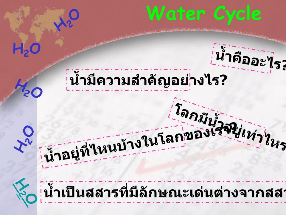 Water Cycle H2O H2O น้ำคืออะไร น้ำมีความสำคัญอย่างไร H2O