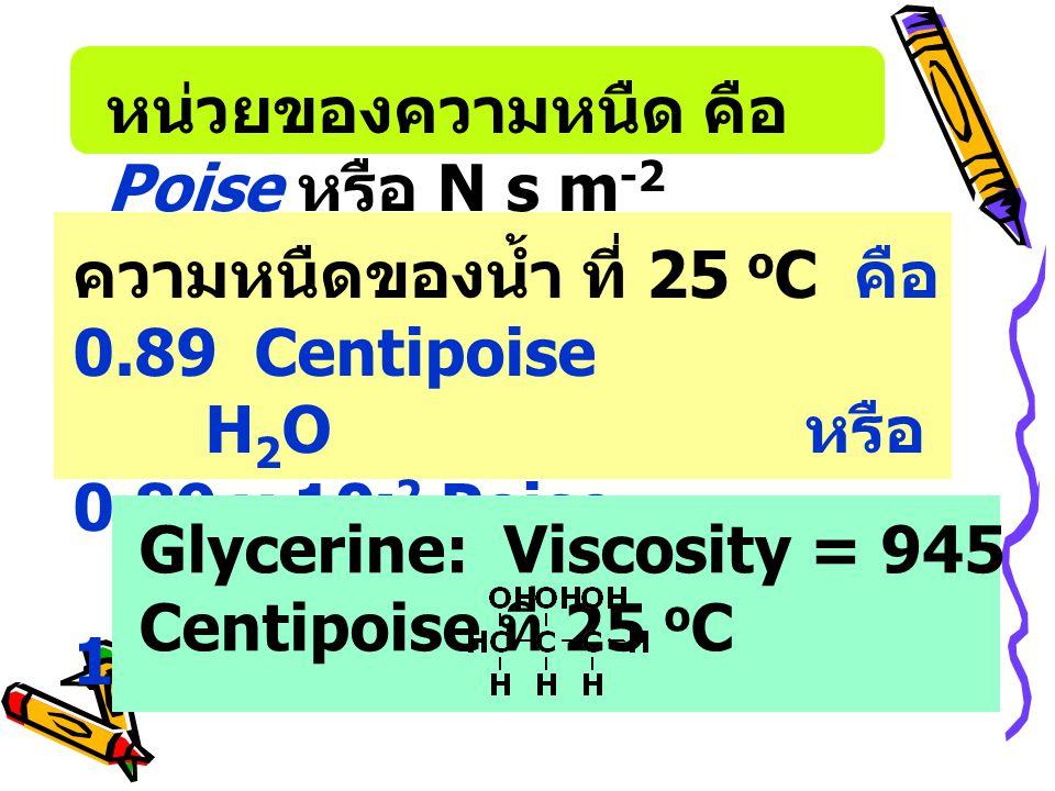หน่วยของความหนืด คือ Poise หรือ N s m-2