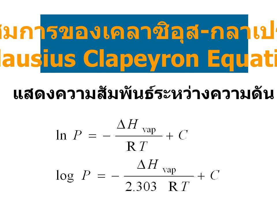 สมการของเคลาซิอุส-กลาเปรง (Clausius Clapeyron Equation)