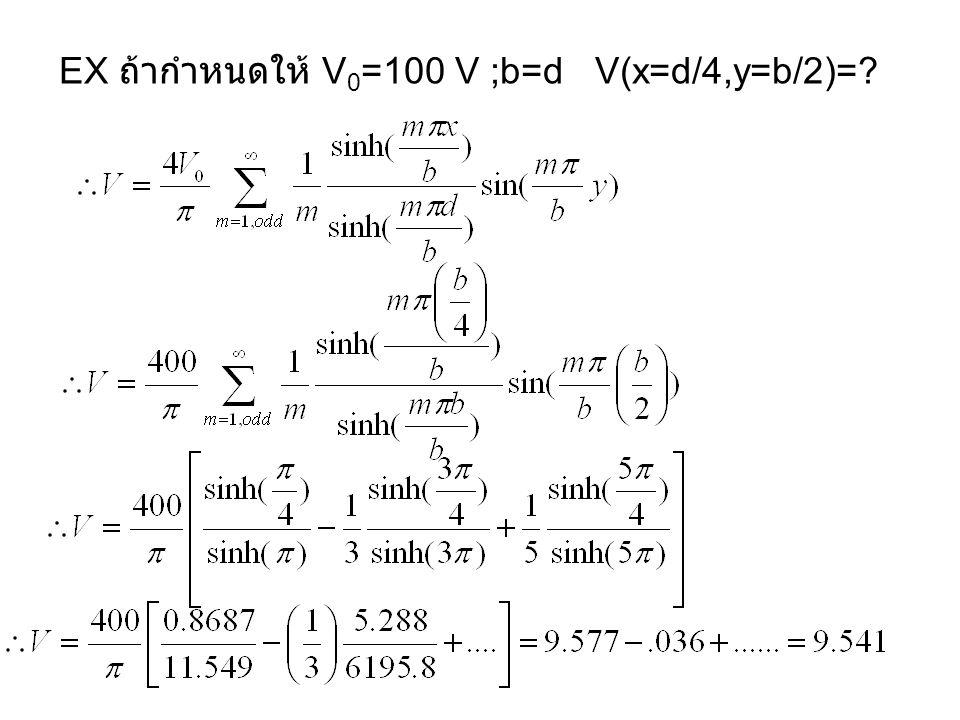 EX ถ้ากำหนดให้ V0=100 V ;b=d V(x=d/4,y=b/2)=