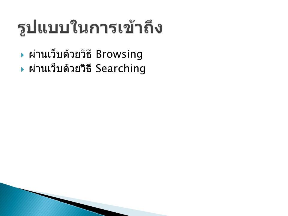รูปแบบในการเข้าถึง ผ่านเว็บด้วยวิธี Browsing