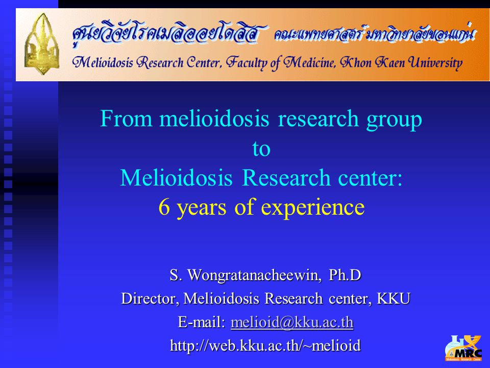 From melioidosis research group to Melioidosis Research center: 6 years of experience