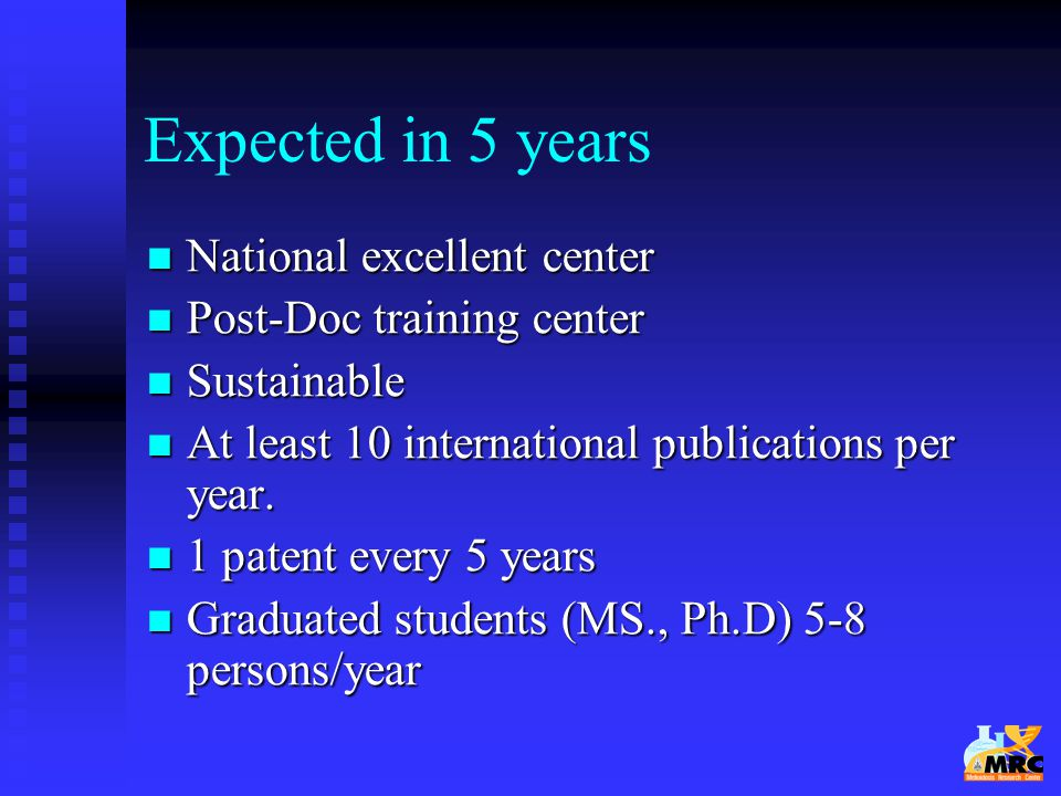 Expected in 5 years National excellent center Post-Doc training center