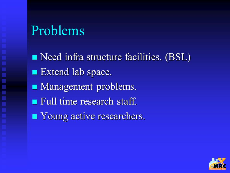 Problems Need infra structure facilities. (BSL) Extend lab space.
