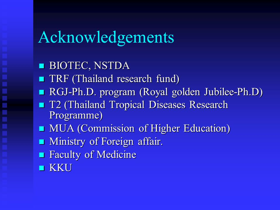 Acknowledgements BIOTEC, NSTDA TRF (Thailand research fund)