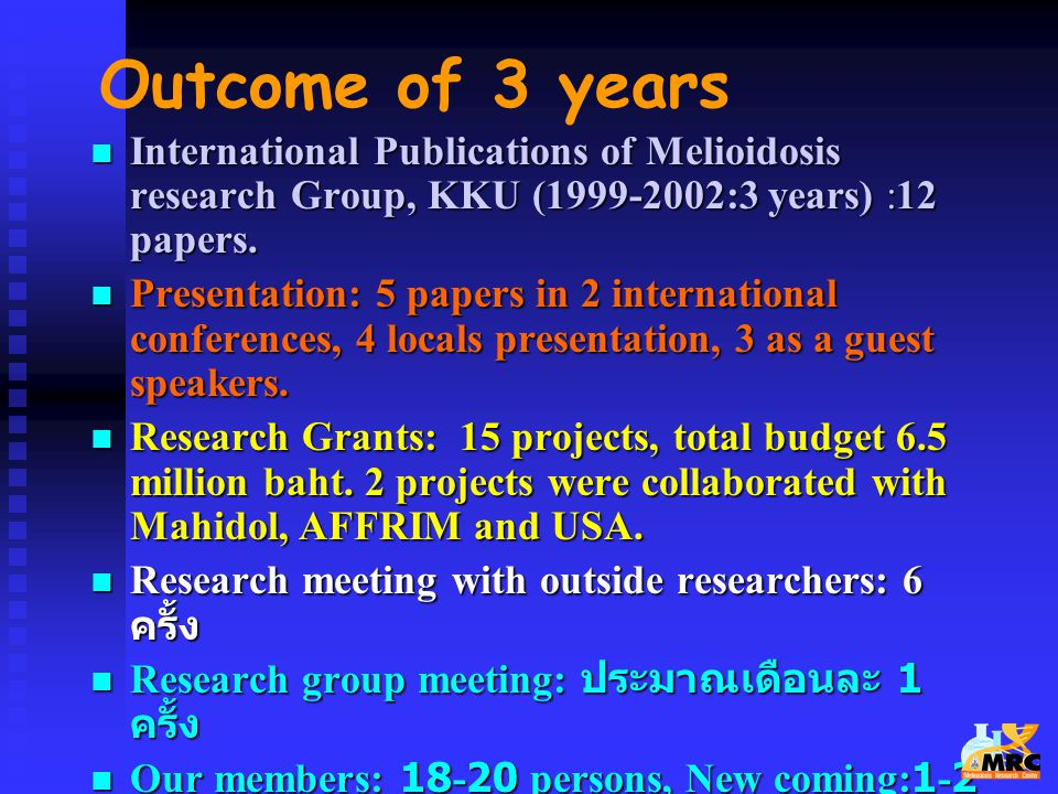 Outcome of 3 years International Publications of Melioidosis research Group, KKU (1999-2002:3 years) :12 papers.