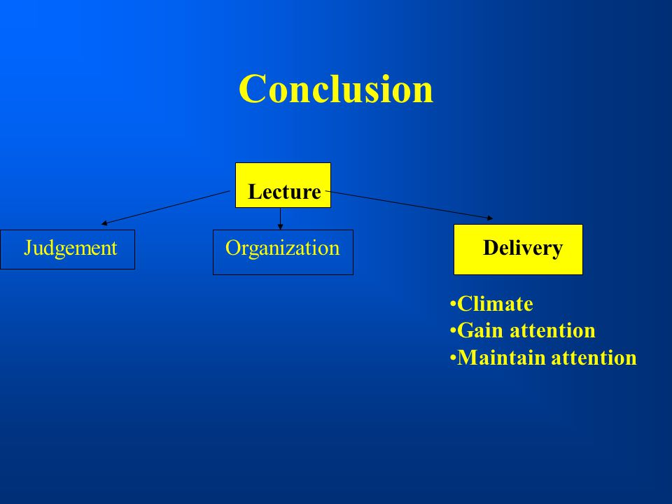 Conclusion Lecture Judgement Organization Delivery Climate
