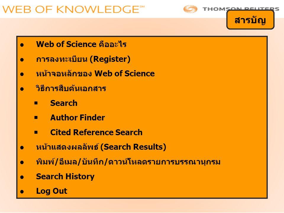 สารบัญ Web of Science คืออะไร การลงทะเบียน (Register)