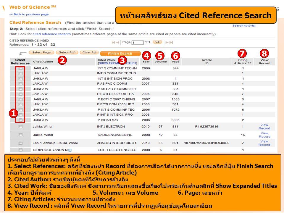 หน้าผลลัพธ์ของ Cited Reference Search