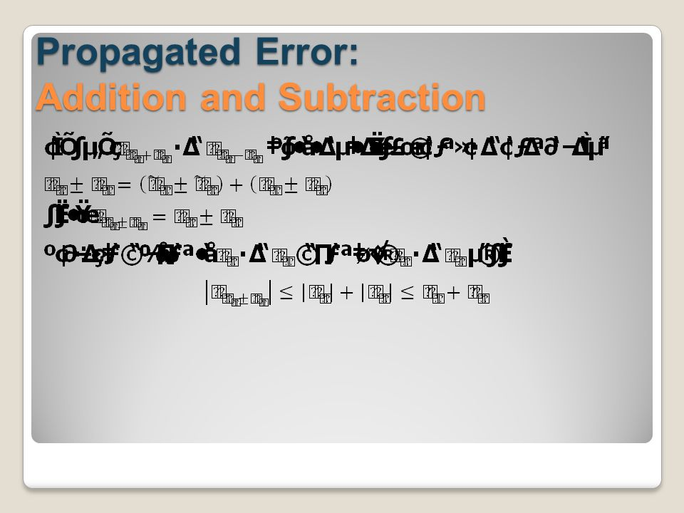 Propagated Error: Addition and Subtraction