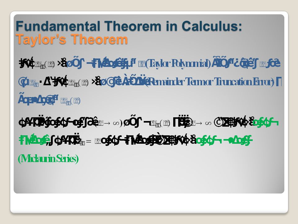Fundamental Theorem in Calculus: Taylor's Theorem