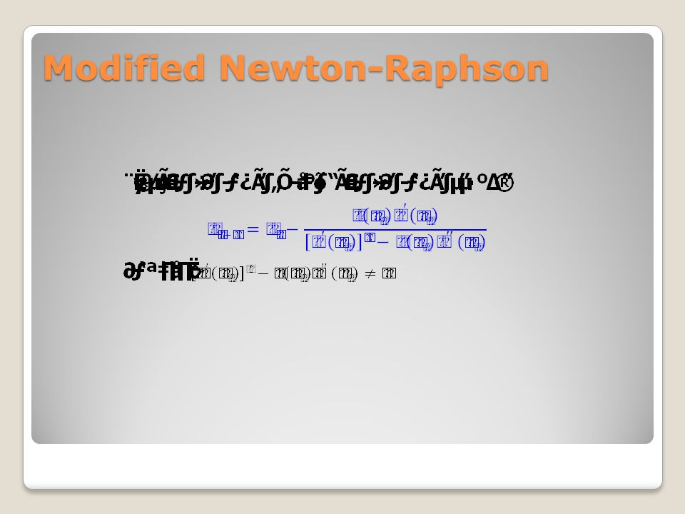 Modified Newton-Raphson