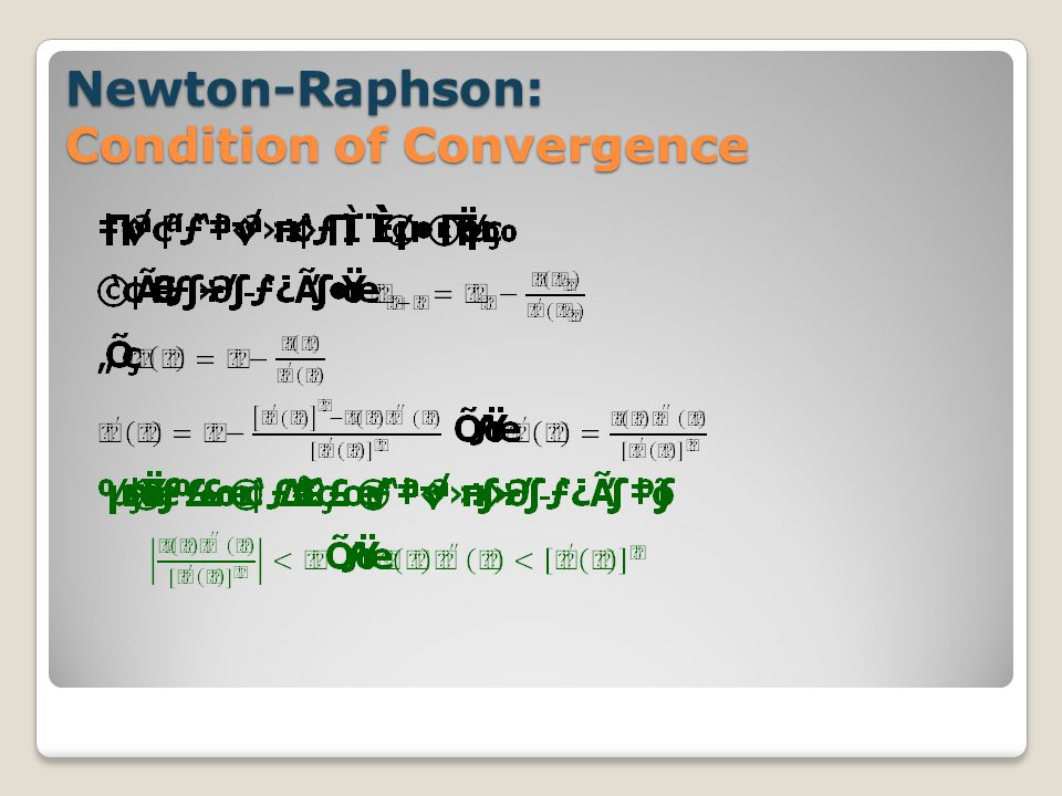 Newton-Raphson: Condition of Convergence