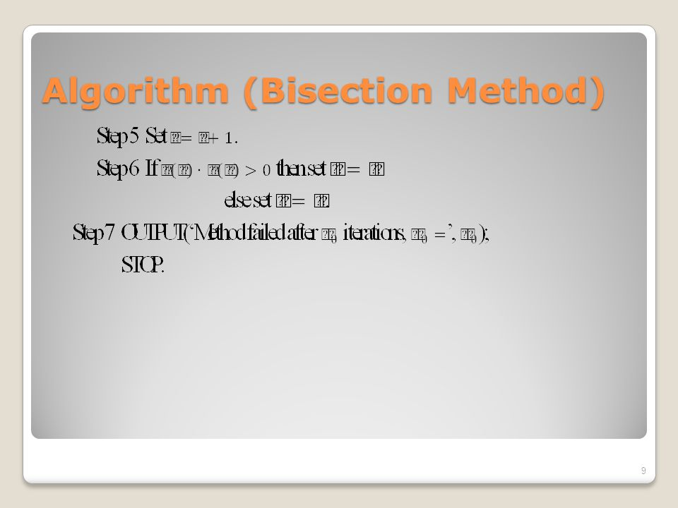 Algorithm (Bisection Method)