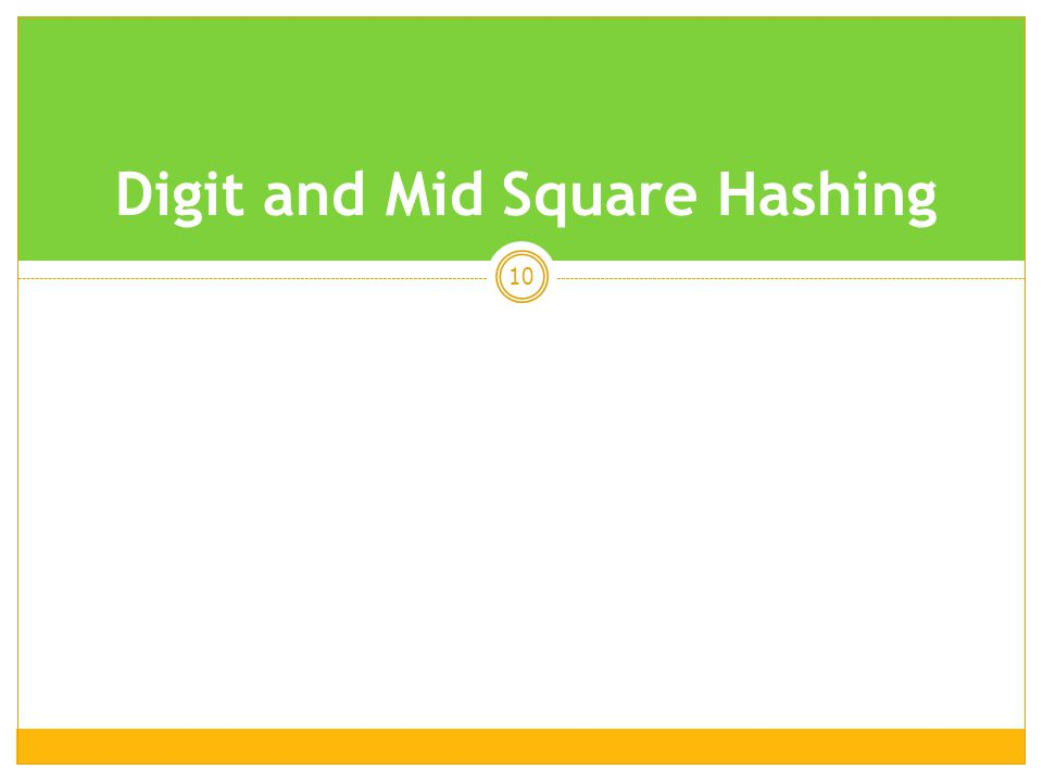 Digit and Mid Square Hashing