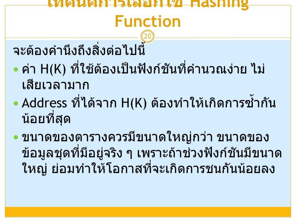 เทคนิคการเลือกใช้ Hashing Function