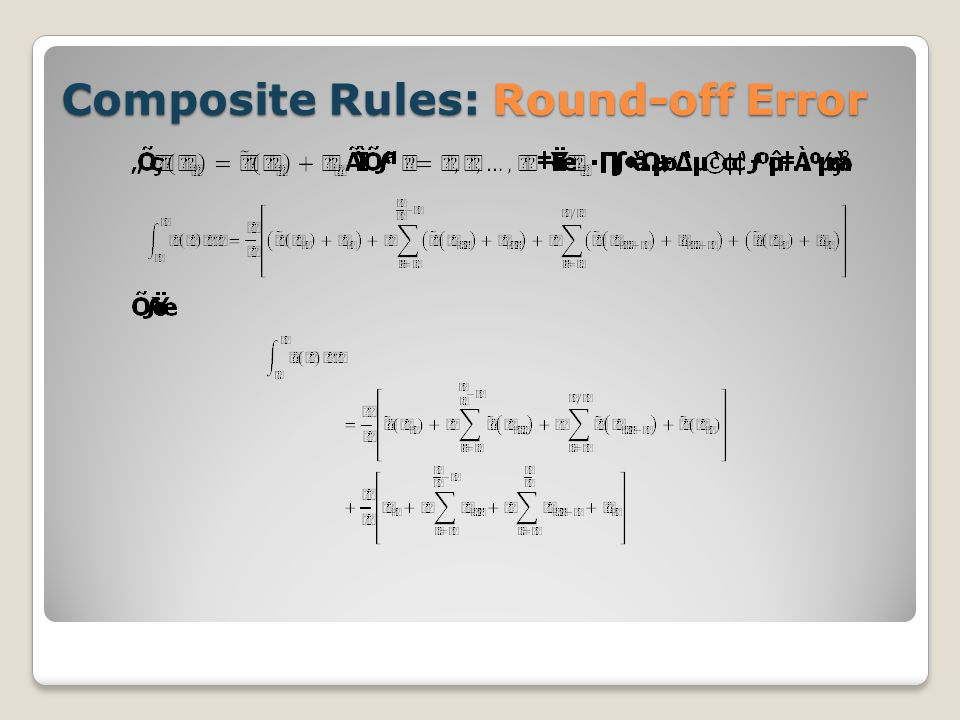 Composite Rules: Round-off Error