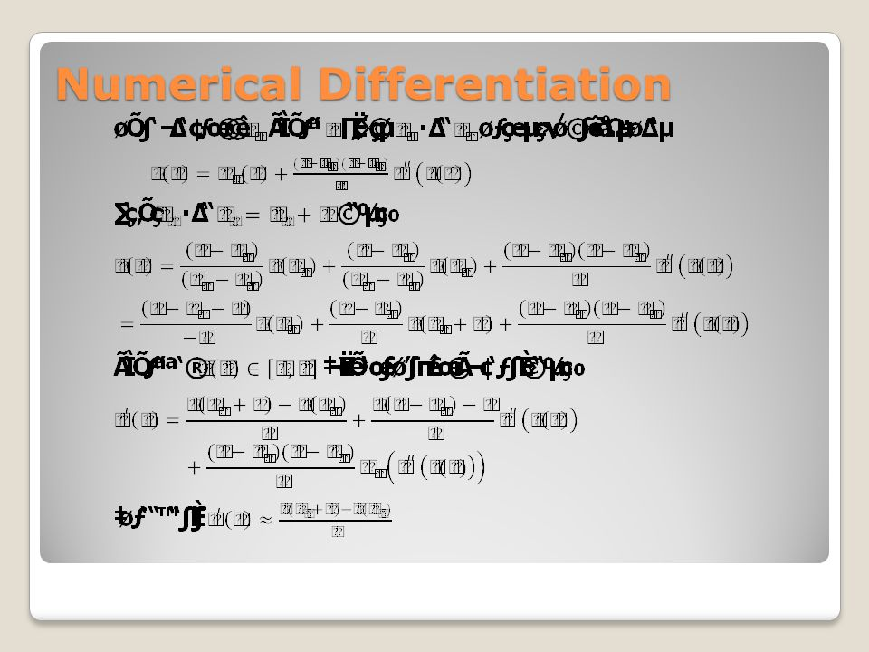 Numerical Differentiation