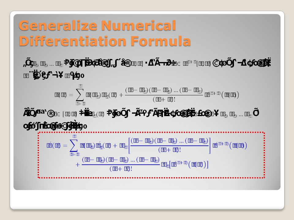 Generalize Numerical Differentiation Formula