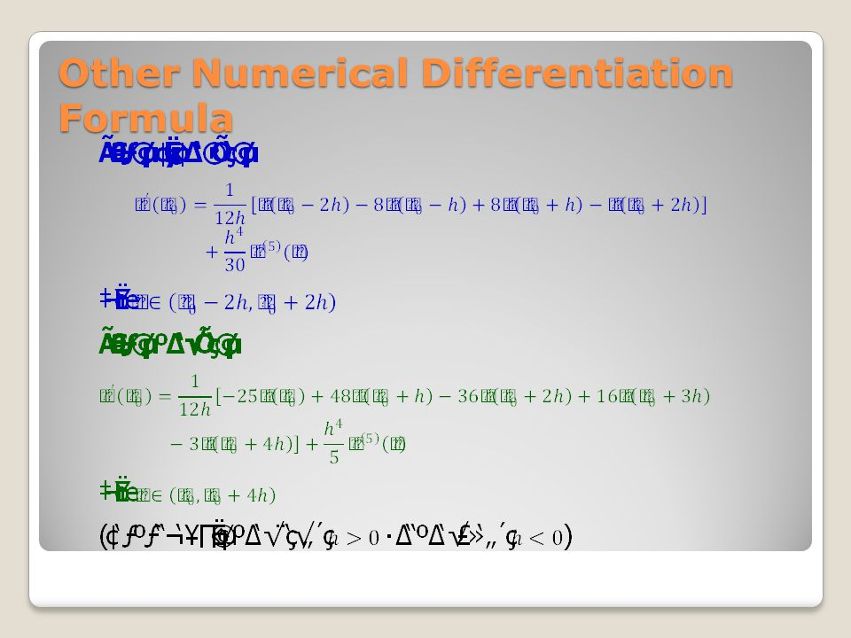Other Numerical Differentiation Formula