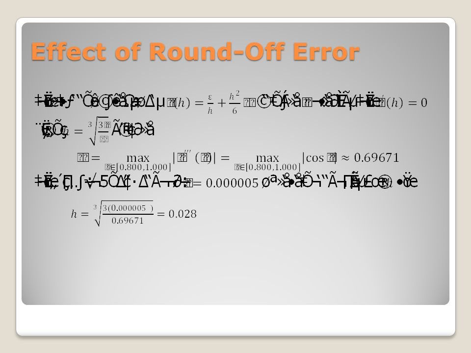 Effect of Round-Off Error
