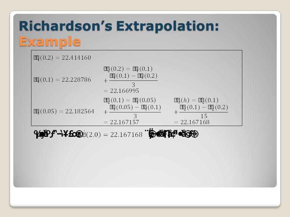 Richardson's Extrapolation: Example