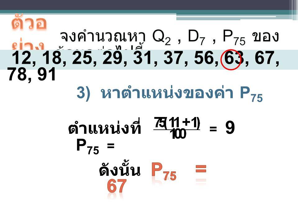 ตัวอย่าง จงคำนวณหา Q2 , D7 , P75 ของข้อมูลต่อไปนี้ 12, 18, 25, 29, 31, 37, 56, 63, 67, 78, 91. หาตำแหน่งของค่า P75.