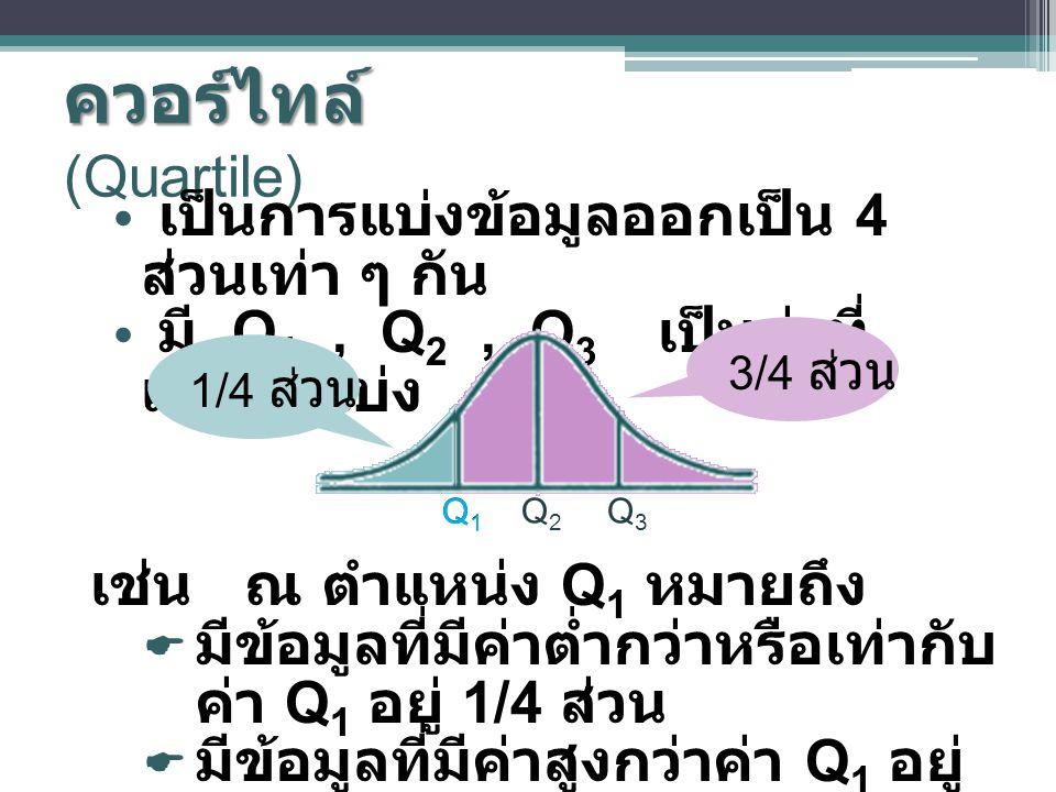 ควอร์ไทล์ (Quartile) เป็นการแบ่งข้อมูลออกเป็น 4 ส่วนเท่า ๆ กัน
