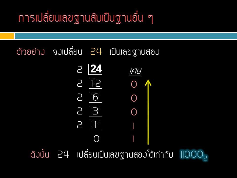 การเปลี่ยนเลขฐานสิบเป็นฐานอื่น ๆ