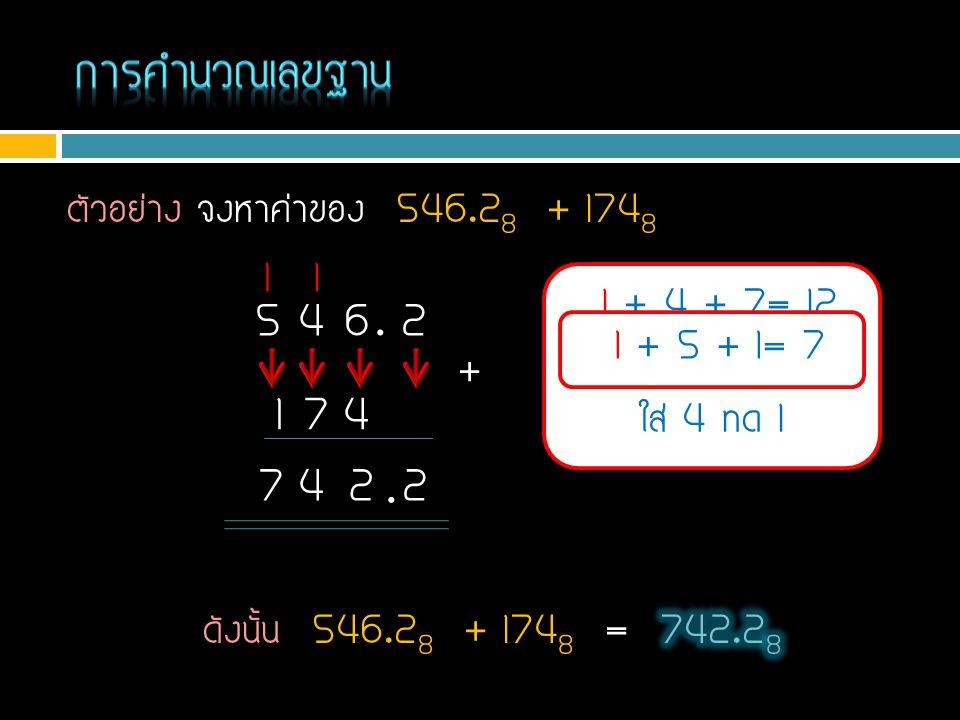 การคำนวณเลขฐาน ตัวอย่าง จงหาค่าของ 546.28 + 1748. 1. 1. 1 + 4 + 7= 12. เกิน 8 ไป 4. ใส่ 4 ทด 1.