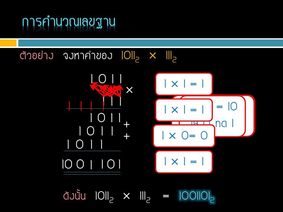 การคำนวณเลขฐาน ตัวอย่าง จงหาค่าของ 10112  1112. 1 0 1 1. 1  1 = 1.  1 1 1. 1. 1. 1. 1.