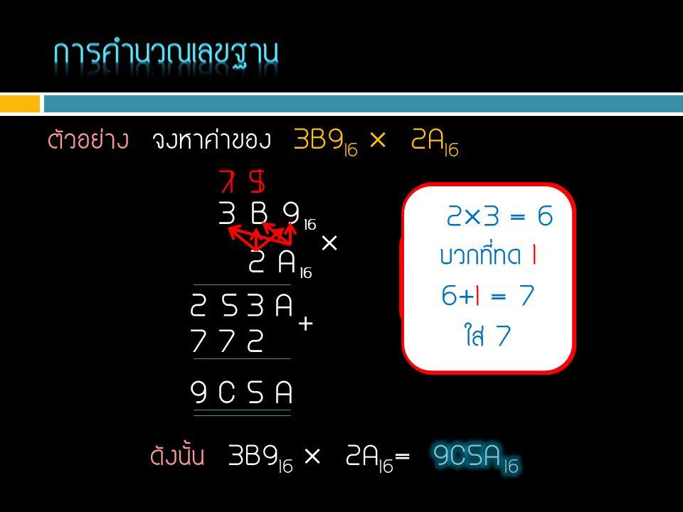 การคำนวณเลขฐาน ตัวอย่าง จงหาค่าของ 3B916  2A16. 7. 1. 5. 1. 3 B 9 16. 23 = 6. บวกที่ทด 1.