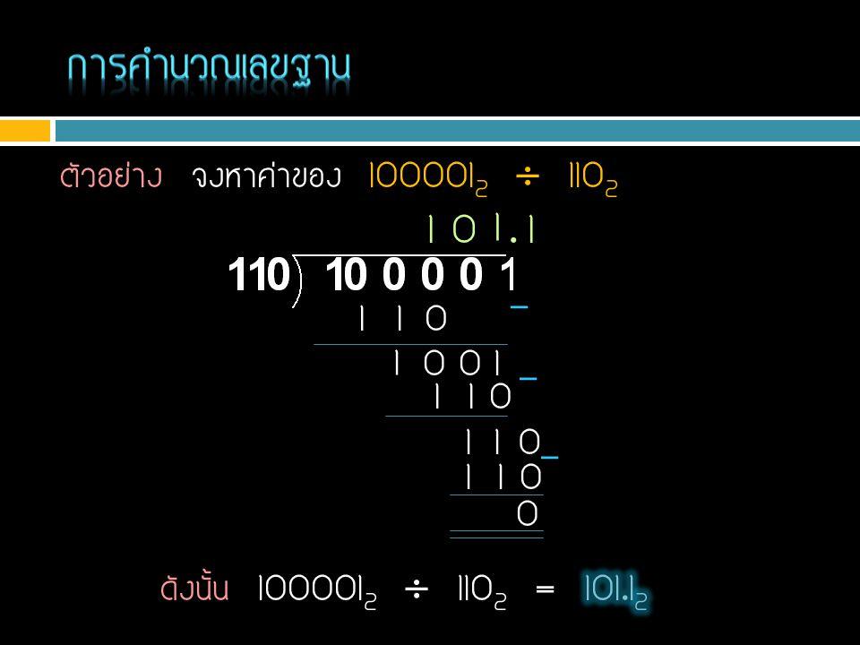 การคำนวณเลขฐาน 1 1 . 1 ตัวอย่าง จงหาค่าของ 1000012  1102 1 1 0 - 1