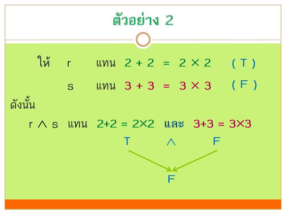 ตัวอย่าง 2 ให้ r แทน 2 + 2 = 2  2 s แทน 3 + 3 = 3  3 ดังนั้น r  s แทน 2+2 = 22 และ 3+3 = 33 ( T )