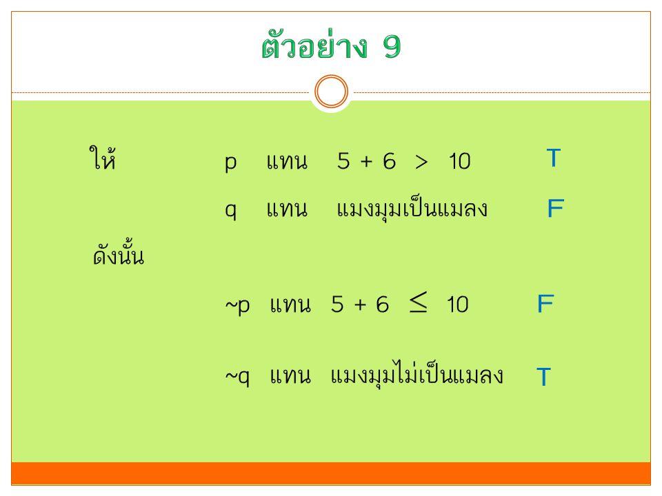 ตัวอย่าง 9 T F F T ให้ p แทน 5 + 6 > 10 q แทน แมงมุมเป็นแมลง