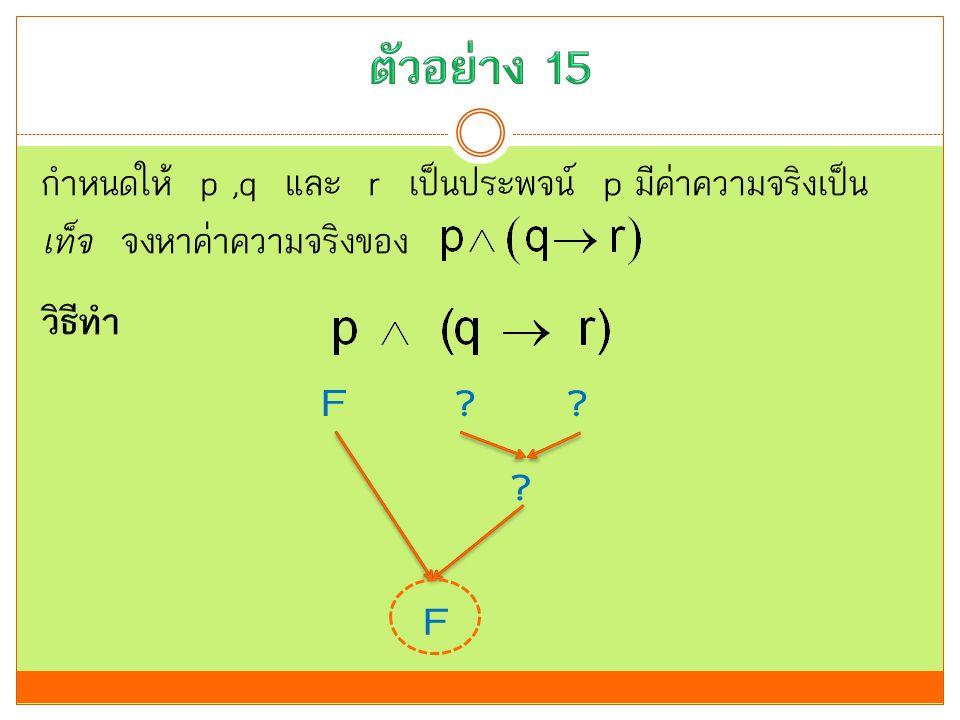 ตัวอย่าง 15 กำหนดให้ p ,q และ r เป็นประพจน์ p มีค่าความจริงเป็น เท็จ จงหาค่าความจริงของ วิธีทำ F.