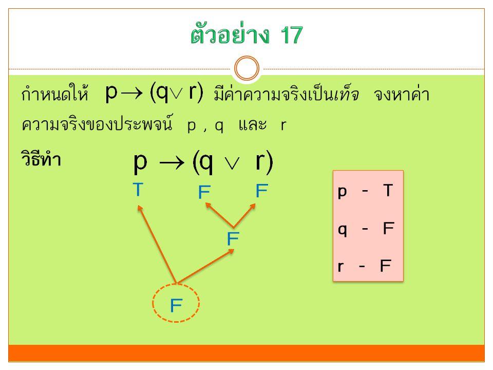 ตัวอย่าง 17 กำหนดให้ มีค่าความจริงเป็นเท็จ จงหาค่าความจริงของประพจน์ p , q และ r วิธีทำ T. F. F.