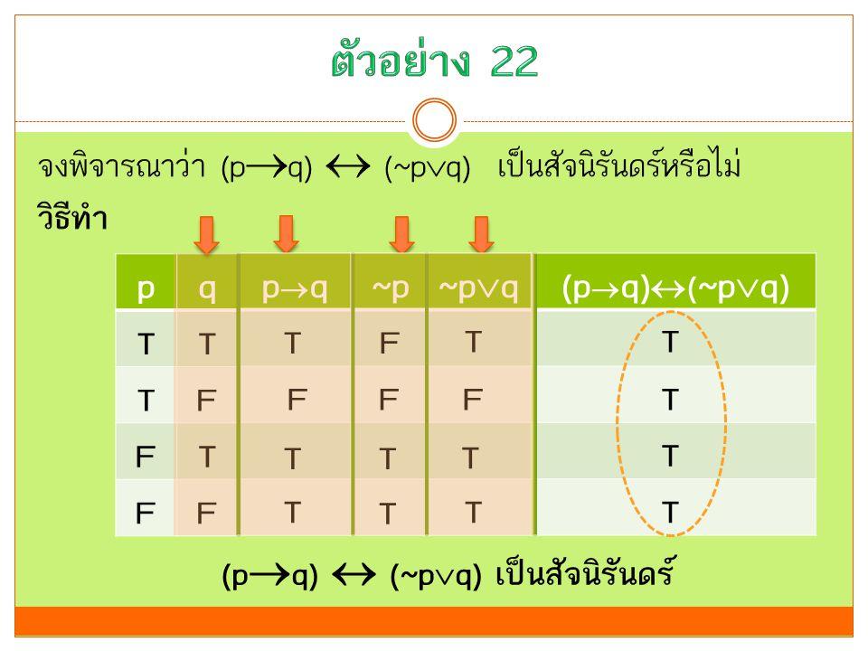 (pq)  (~pq) เป็นสัจนิรันดร์
