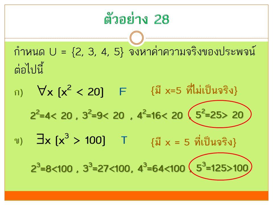 ตัวอย่าง 28 กำหนด U = {2, 3, 4, 5} จงหาค่าความจริงของประพจน์ต่อไปนี้